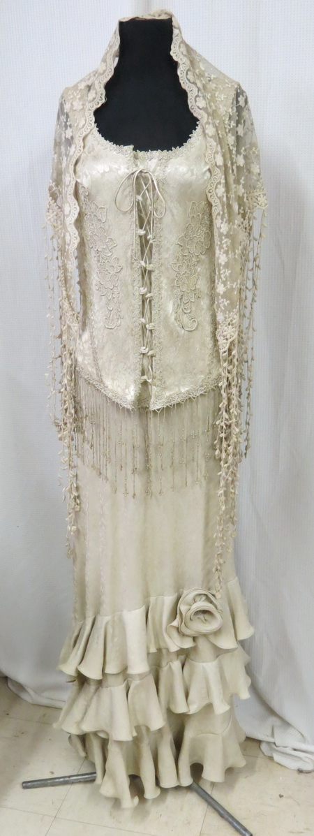 Bamboo Lace Shawl, Corset, and Skirt