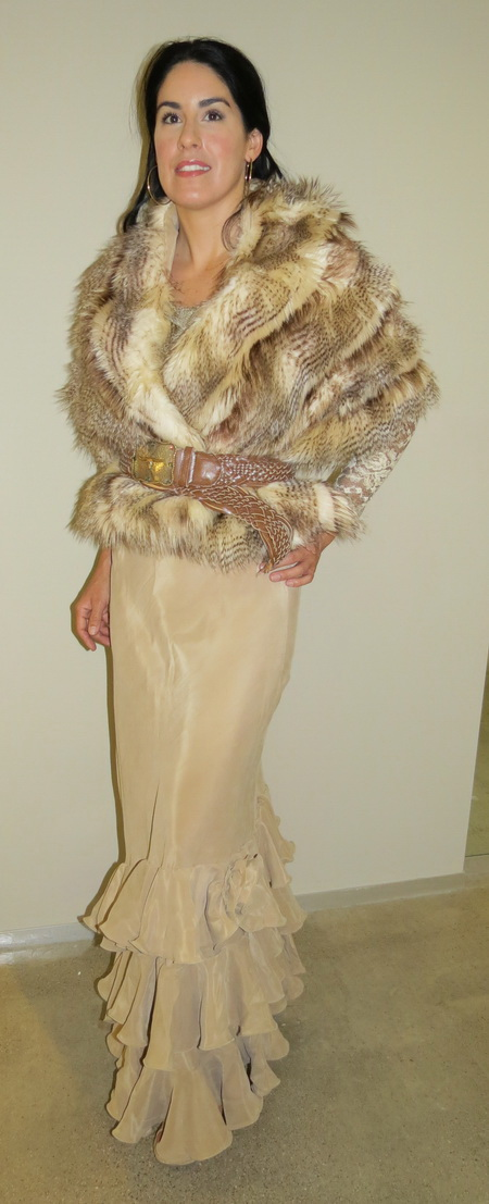 Carmel Stenciled Raccoon Faux Fur Shawl