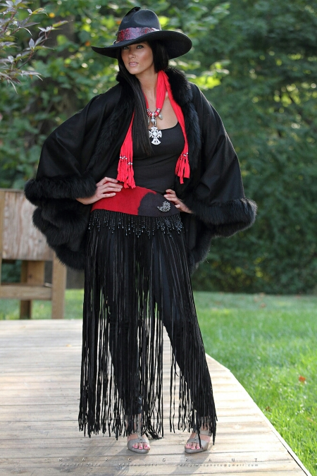 Black Cashmere and Fox Cape