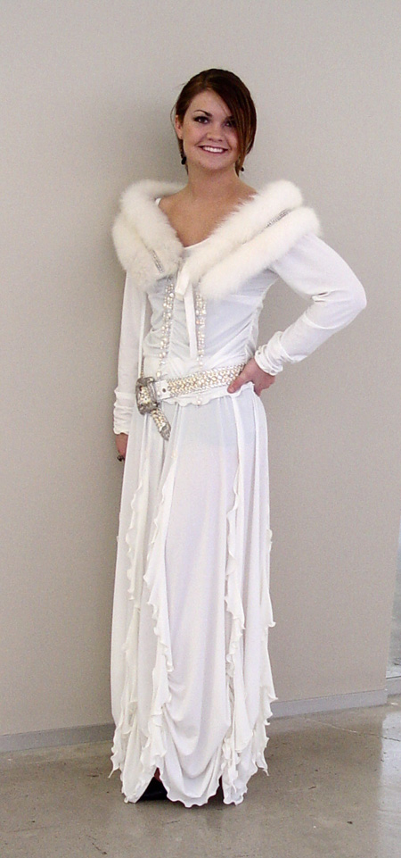 Fox Fur Collar dripping with Austrian Crystals in Ivory