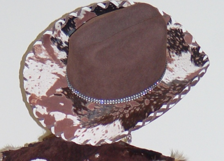 Cowgirl Hats -  Suede Lacing with Hair on Brim  0702