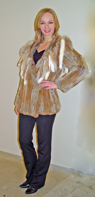 Knitted Fur Long Jacket *