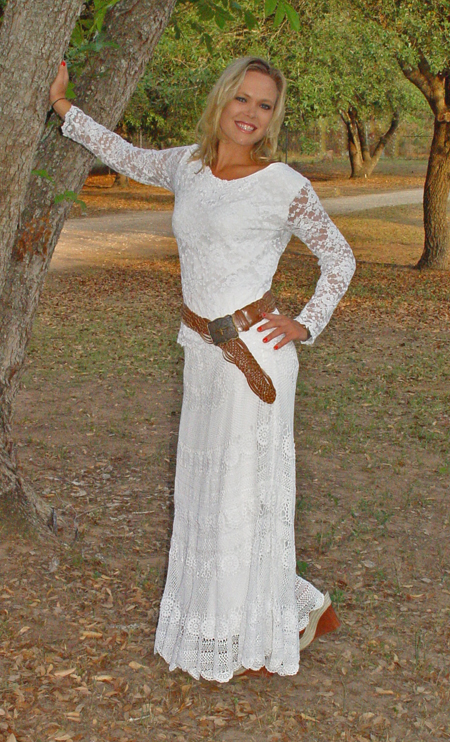 Designs by Pat -- White Lace Top and Skirt