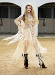 Embroidery silk Long Fringed Dress